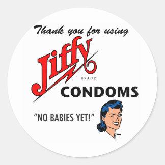Jiffy Brand Condom Gear! Round Stickers