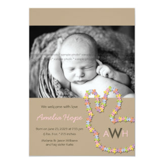 "Jigsaw Bunny Baby Girl Photo Birth Announcement 5"" X 7"" Invitation Card"