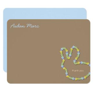 Jigsaw Bunny Blue Thank You Custom (R) Note Card