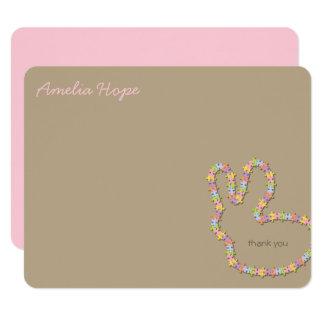 Jigsaw Bunny Pink Thank You Custom (R) Note Card