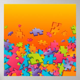 Jigsaw cartoon pattern poster