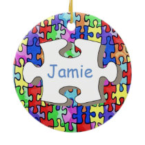 Jigsaw Ceramic Ornament