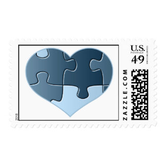 Jigsaw Heart Postage Stamp