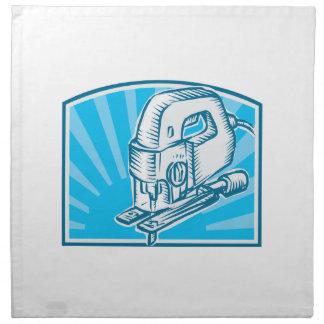 Jigsaw Power Tool Woodcut Retro Cloth Napkins