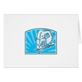 Jigsaw Power Tool Woodcut Retro Greeting Cards
