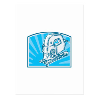 Jigsaw Power Tool Woodcut Retro Postcards