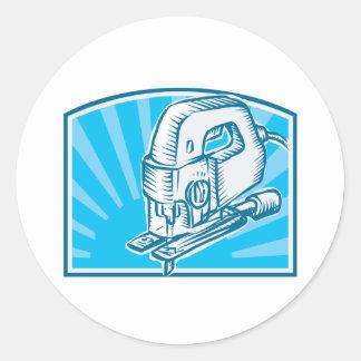 Jigsaw Power Tool Woodcut Retro Round Sticker