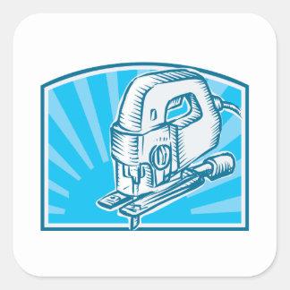 Jigsaw Power Tool Woodcut Retro Square Sticker
