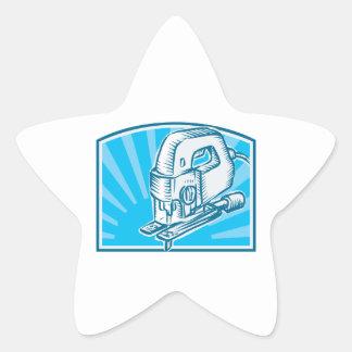 Jigsaw Power Tool Woodcut Retro Sticker