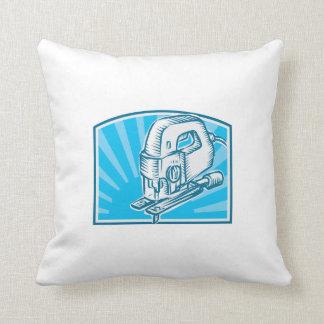 Jigsaw Power Tool Woodcut Retro Throw Pillows