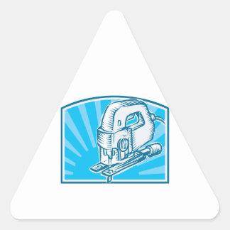 Jigsaw Power Tool Woodcut Retro Triangle Sticker
