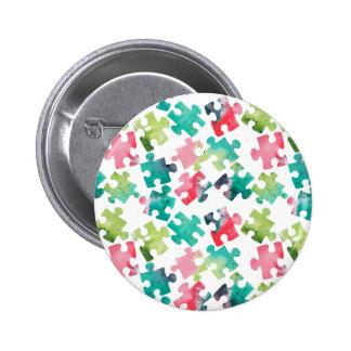 Jigsaw Puzzel Watercolour Pattern Button