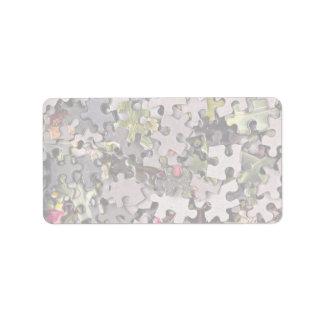 Jigsaw puzzle background label