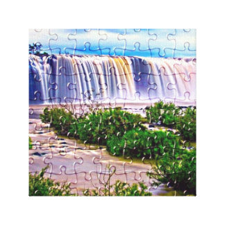 Jigsaw puzzle effect waterfall canvas print