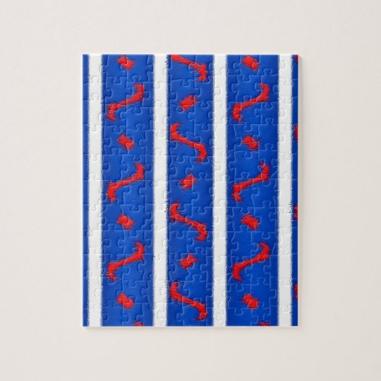 Jigsaw Puzzle in Red White and Blue