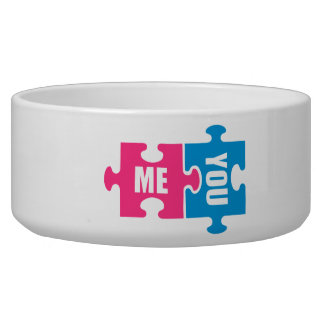 Jigsaw puzzle me and you dog food bowl