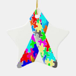 Jigsaw Puzzle Pattern Ribbon Ceramic Ornament
