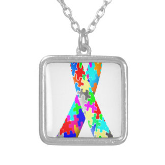 Jigsaw Puzzle Pattern Ribbon Silver Plated Necklace