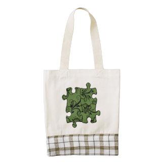 Jigsaw Puzzle Piece, Damask - Green Black Zazzle HEART Tote Bag