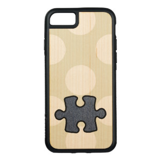 Jigsaw Puzzle Piece, Denim (Twill Textile) - Blue Carved iPhone 8/7 Case