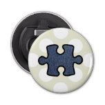 Jigsaw Puzzle Piece, Denim (Twill Textile) - Blue Button Bottle Opener