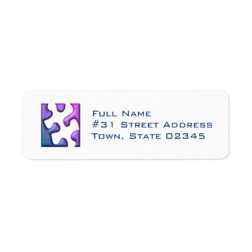 Jigsaw Puzzle Piece Return Address Label