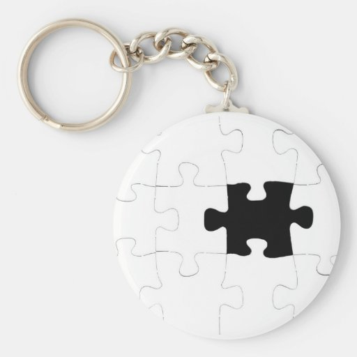 Jigsaw Puzzle with Missing Piece Key Chain