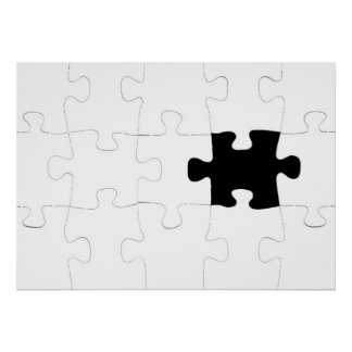Jigsaw Puzzle with Missing Piece Poster
