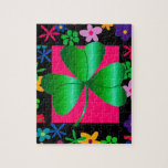 Jigsaw Puzzle with Shamrock and Flowers