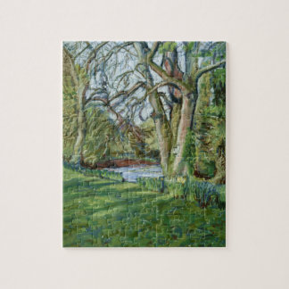 Jigsaw Puzzle with Spring Landscape