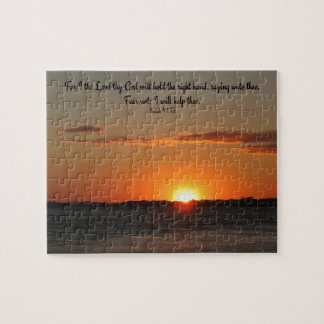 Jigsaw Puzzle With Sunset Photo & Bible Quote