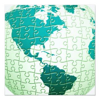 """Jigsaw Puzzle World Invitations 5.25"""" Square Invitation Card"""