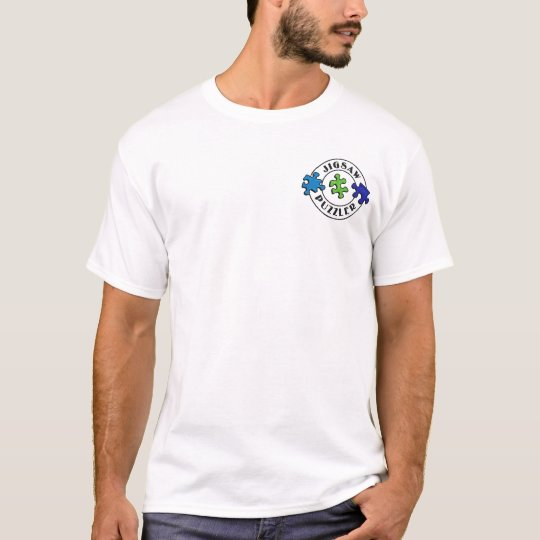 Jigsaw Puzzler Circle w/ defined on back T-Shirt