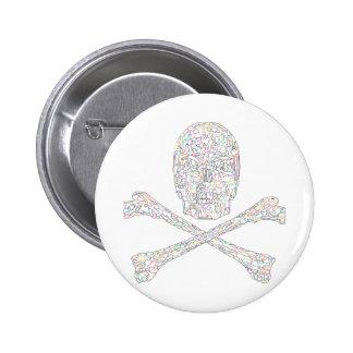 Jigsaw Skull & Crossbones - Color Pinback Button