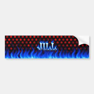 Jill blue fire and flames bumper sticker design. car bumper sticker