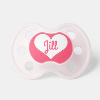 """""""Jill"""" Personalized Pink & White Pacifier"""