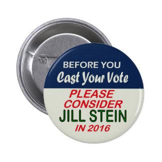 Jill Stein Green Party for Presidenr 2016 Pinback Button