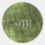 Jill verde pegatinas redondas
