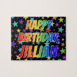 "[ Thumbnail: ""Jillian"" First Name, Fun ""Happy Birthday"" Jigsaw Puzzle ]"