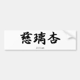 Jillian translated into Japanese kanji symbols. Bumper Sticker
