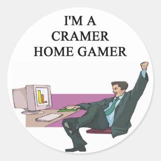 jim cramer home gamer classic round sticker
