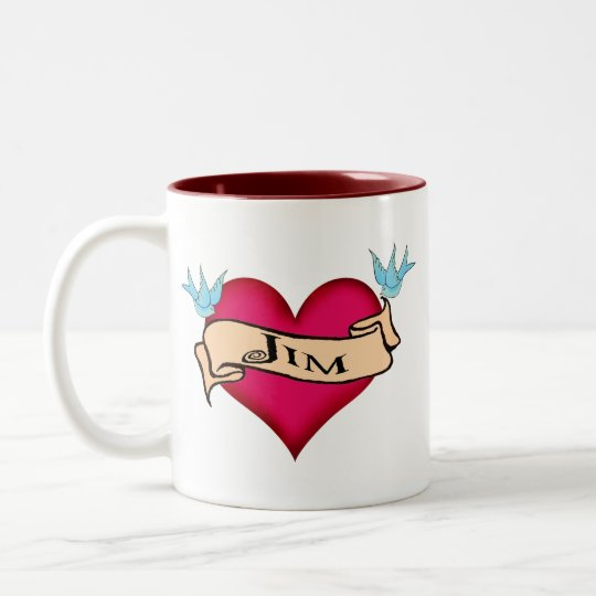 Jim - Custom Heart Tattoo T-shirts & Gifts Two-Tone Coffee Mug