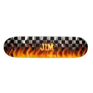 Jim skateboard fire and flames design