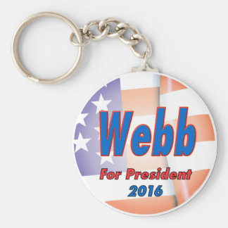 Jim Webb para el presidente en 2016 Llavero Redondo Tipo Pin