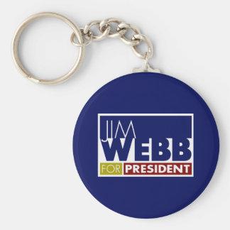 Jim Webb para presidente V1 Llavero Redondo Tipo Pin
