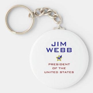 Jim Webb para presidente V2 los E.E.U.U. Llavero Redondo Tipo Pin