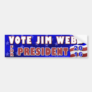 Jim Webb President 2016 Election Democrat Car Bumper Sticker