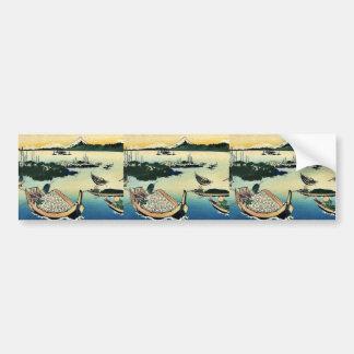 Jima del tsukuda de Buyo por Katsushika, Hokusai U Pegatina Para Auto