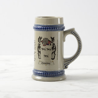 Jimenez Family Coat of Arms on a Stein 18 Oz Beer Stein