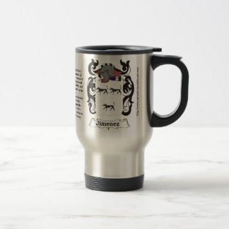 Jimenez Family Coat of Arms on a Travel Mug
